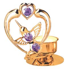 Hummingbird with Heart T-Lite w/Purple Swarovski Element Crystal