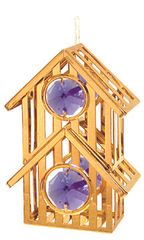 Gold Plated Birdhouse Ornament w/Swarovski Element Crystal