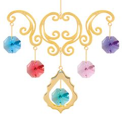Gold Plated Deluxe Chandelier Ornament w/Mixed Swarovski Element Crystal