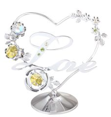 Love in Heart w/ Flower on Stand w/Swarovski Element Crystal