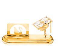 Gold Plated Graduation Cap Card Holder w/Clear Swarovski Element Crystal