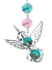 Chrome Plated Hummingbird Hanging Charm Ornament w/Green Swarovski Element Crystal