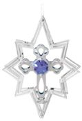 Chrome Plated Cross in Star Ornament w/Purple Swarovski Element Crystal