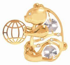 Gold Plated Bear w/ Ball Sun Catcher (Magnet) w/Swarovski Element Crystal