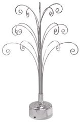 "Chrome Finish Ornaments Rotating Display Tree (18""H)"