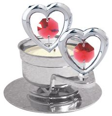 Twin Hearts T-Lite Holder w/Swarovski Element Crystal