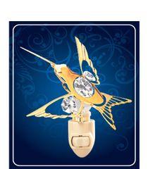 Gold Plated Hummingbird Night Light w/Swarovski Element Crystal