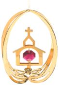 Gold Plated Church in Ellipse Ornament w/Red Swarovski Element Crystal
