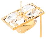 Gold Plated Graduation Cap Ornament w/Clear Swarovski Element Crystal