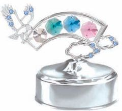 Chrome Plated Rainbow/Eagle Music Box w/ Swarovski Element Crystal