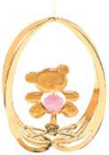 Gold Plated Teddy Bear in Ellipse Ornament w/Pink Swarovski Element Crystal