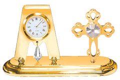 Gold Plated Mini Cross Desk Clock w/Clear Swarovski Element Crystal