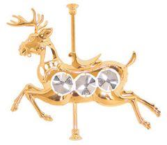 Gold Plated Carousel Deer Sun Catcher (Magnet) w/Swarovski Element Crystal