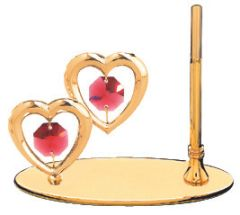 Gold Plated Twin Hearts Petite Pen Set w/Red Swarovski Element Crystal