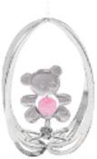 Chrome Plated Teddy Bear in Ellipse Ornament w/Pink Swarovski Element Crystal
