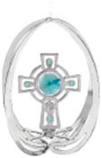 Chrome Plated Celtic Cross in Ellipse Ornament w/Green Swarovski Element Crystal