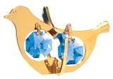 Gold Plated Twin Dove Ornament w/2 Blue Swarovski Element Crystal