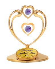 Happy Mother's Day - Heart in Heart on Stand w/Purple Swarovski Element Crystals