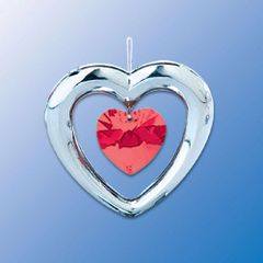 Chrome Plated Heart w/Heart Crystal Ornament w/Red Swarovski Element Crystal