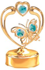 Gold Plated Butterfly in Heart Music Box w/ Swarovski Element Crystal