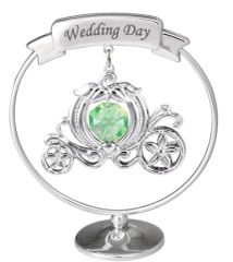 """Chrome Plated Carriage with """"Wedding Day"""" Mobile Stand w/Swarovski Element Crystal"""