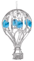 Chrome Plated Hot Air Balloon Ornament w/Swarovski Element Crystal