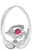 Chrome Plated Fish in Ellipse Ornament w/Red Swarovski Element Crystal