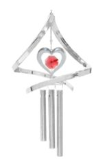Chrome Plated Heart Propelling Wind Chime w/Red Swarovski Element Crystal