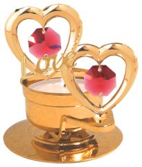 "Twin Hearts w/""Love"" T-Lite Holder w/Red Swarovski Element Crystal"