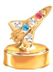 Gold Plated Space Shuttle Music Box w/Clear Swarovski Element Crystal