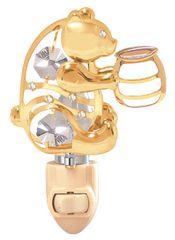 Gold Plated Bear w/Honey Jar Night Light w/Swarovski Element Crystal
