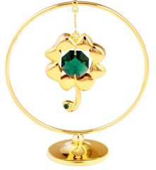 Gold Plated Four Leaf Clover Mobile Freestand w/Swarovski Element Crystal