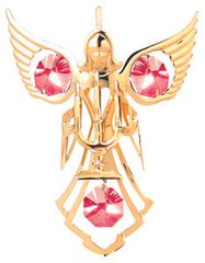 Gold Plated Angel w/ Candles Ornament w/Swarovski Element Crystal