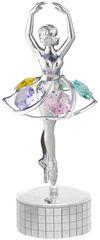 Chrome Plated Ballerina Music Box w/Swarovski Element Crystal