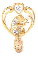 Gold Plated Bear in Heart Night Light w/Clear Swarovski Element Crystal