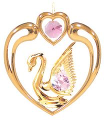 Gold Plated Swan in Heart Ornament w/Swarovski Element Crystal