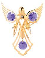 Gold Plated Angel w/Doves Ornament w/Purple Swarovski Element Crystal