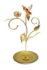 Gold Plated Tulip w/H-Bird Jewelry Stands w/Swarovski Element Crystal