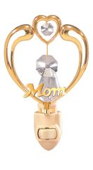 "Happy Mother's Day - ""Mom"" in Heart Night Light with Swarovski Element Crystals"