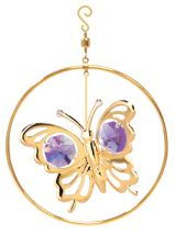 Gold Plated Butterfly 1-Ring Ornament w/Purple Swarovski Element Crystal