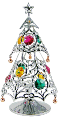 Chrome Plated Christmas Tree on Stand w/Swarovski Element Crystal