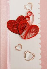 Hearts Quilled Small Paper Cards (Set of 4) with envelopes