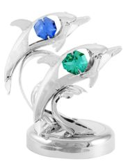 Chrome Plated Twin Dolphins on Stand w/Swarovski Element Crystal