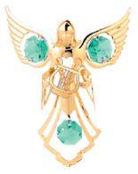 Gold Plated Angel w/Lyre Ornament w/Green Swarovski Element Crystal