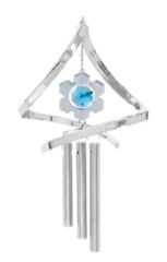 Chrome Plated Snowflake Propelling Wind Chime w/Blue Swarovski Element Crystal