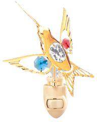 Gold Plated Hummingbird Night Light w/Mixed Swarovski Element Crystal