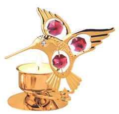 Gold Plated Hummingbird T-Lite w/Swarovski Element Crystal