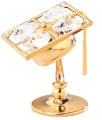 Gold Plated Graduation Cap on Stand w/Swarovski Element Crystal