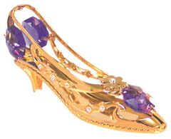 Gold Plated Shoe/Daisy Sun Catcher (Magnet) w/Swarovski Element Crystal