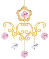Gold Plated Flower Chandelier Ornament w/Pink Swarovski Element Crystal